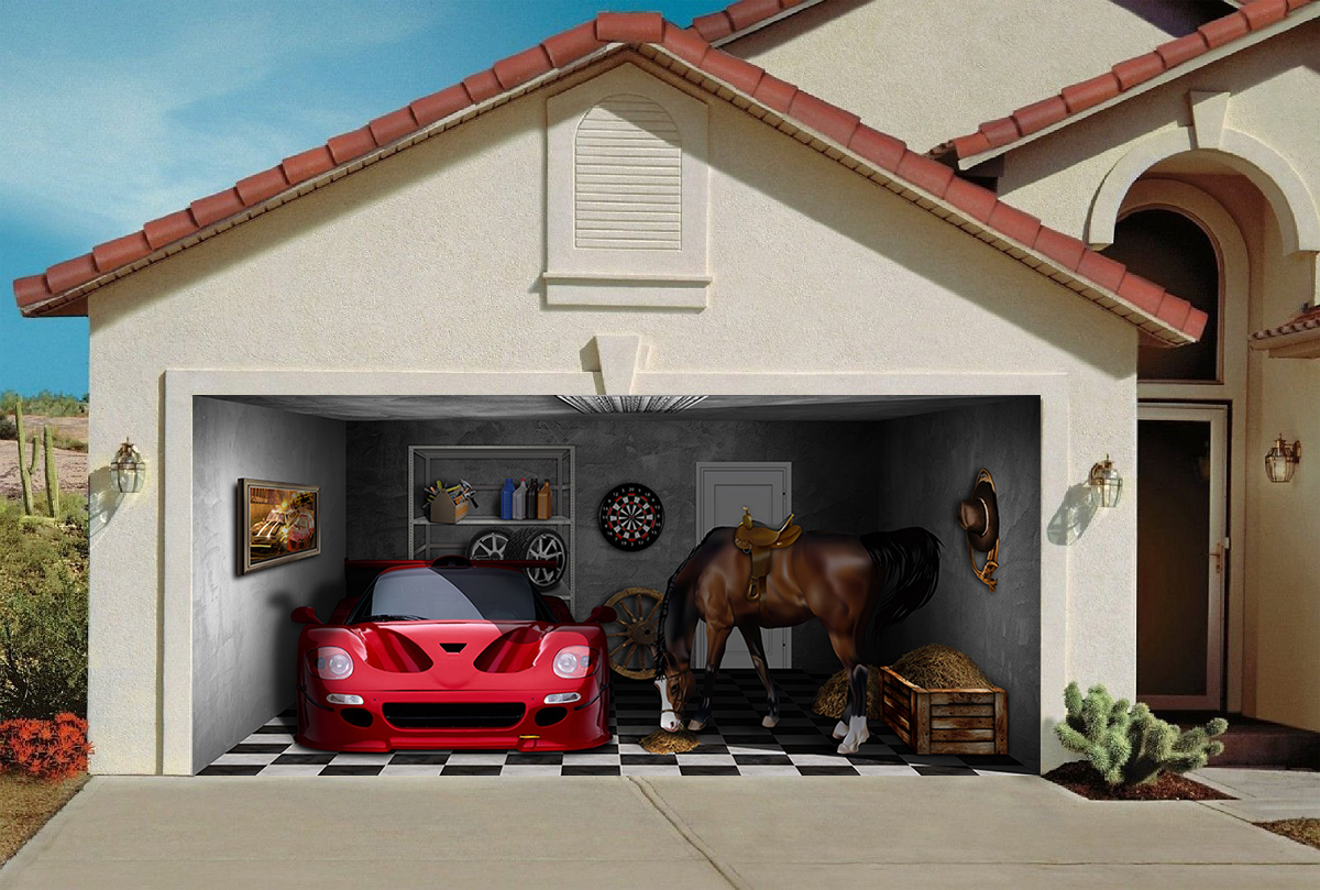 Sport Car and Horse 7' x 16'