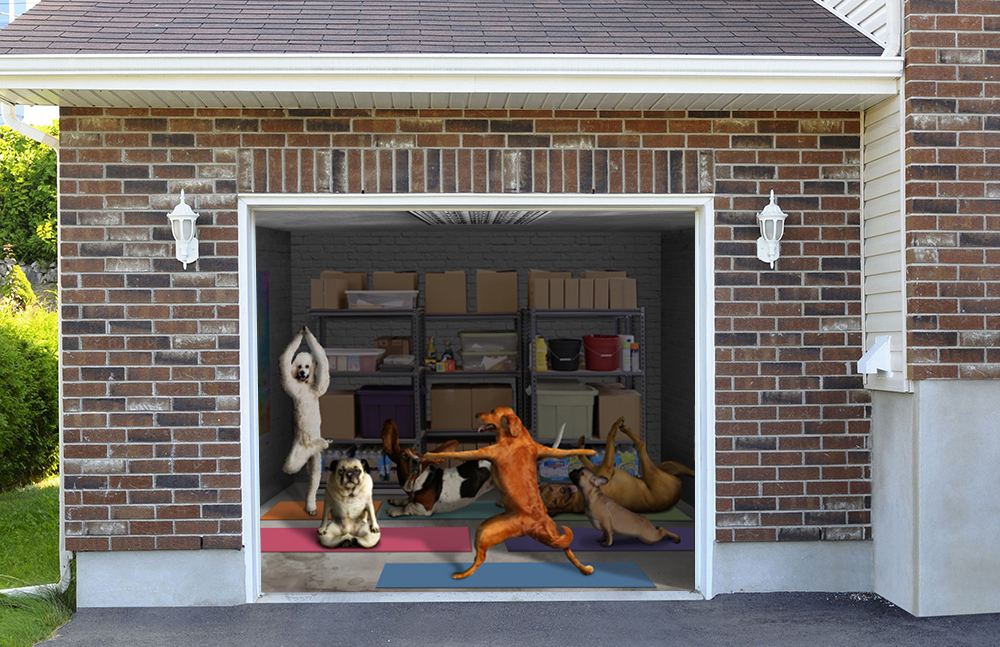 Dogs doing Yoga Funny 7' x 8'