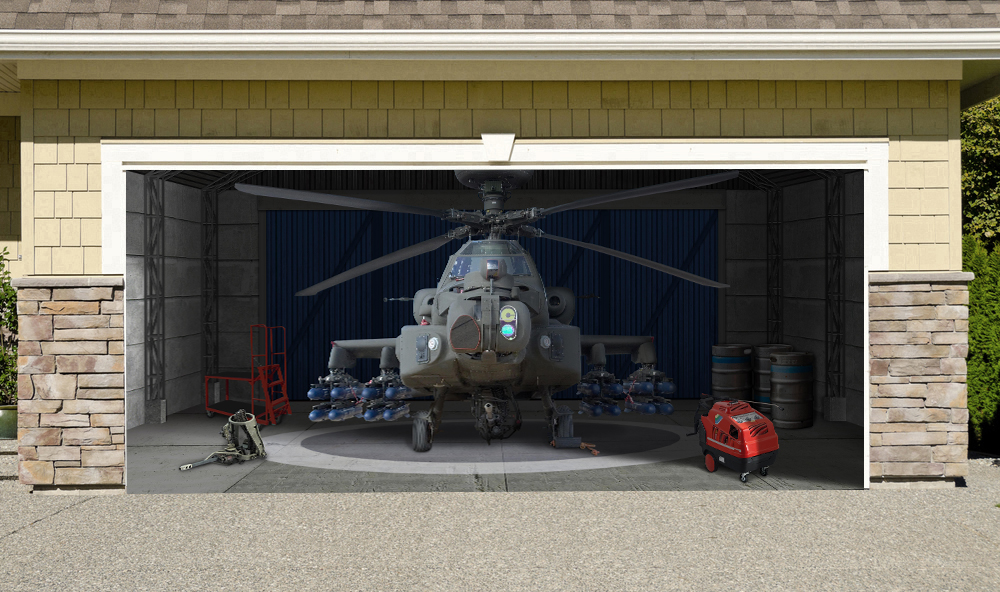 Apache Helicopter Military Aircraft 7' x 16'